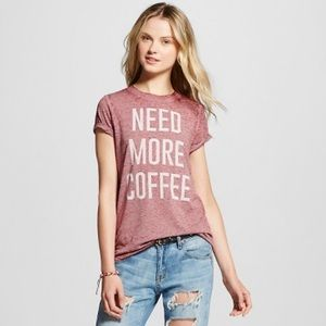Need More Coffee Burgundy Burnout Tee Size Large
